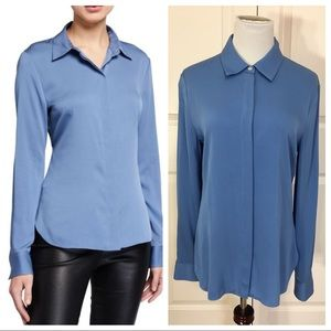 NWT! Theory Stretch Silk Classic Fitted Shirt